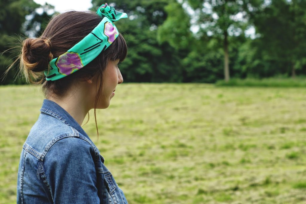 Eleanor J Shore headscarf detail