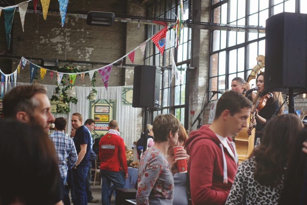 hello freckles tea and cake planet boiler shop bunting scene
