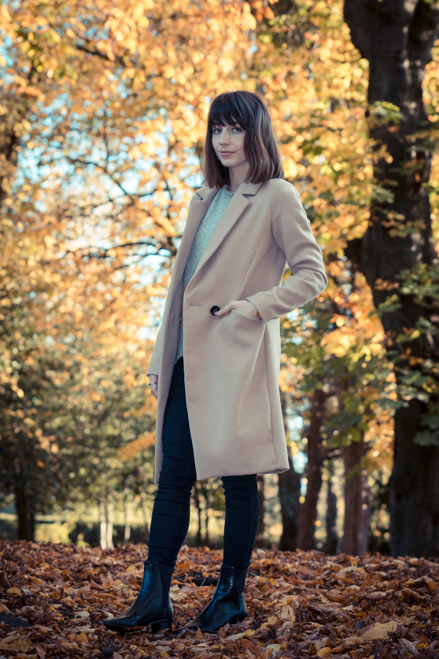Hello Freckles Autumnal Outfit Tan Coat Oasis and Ash Boots