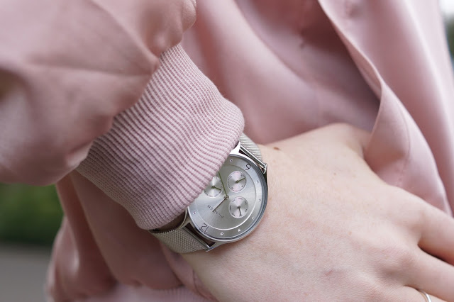 Hello Freckles Pink Satin Bomber Bodysuit Ripped Jeans Skagen Silver Chronograph Watch