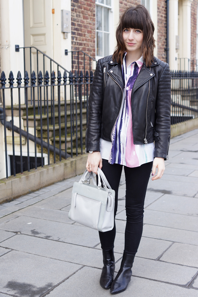 Hello Freckles Outfit Style Painter Shirt All Saints Leather Jacket