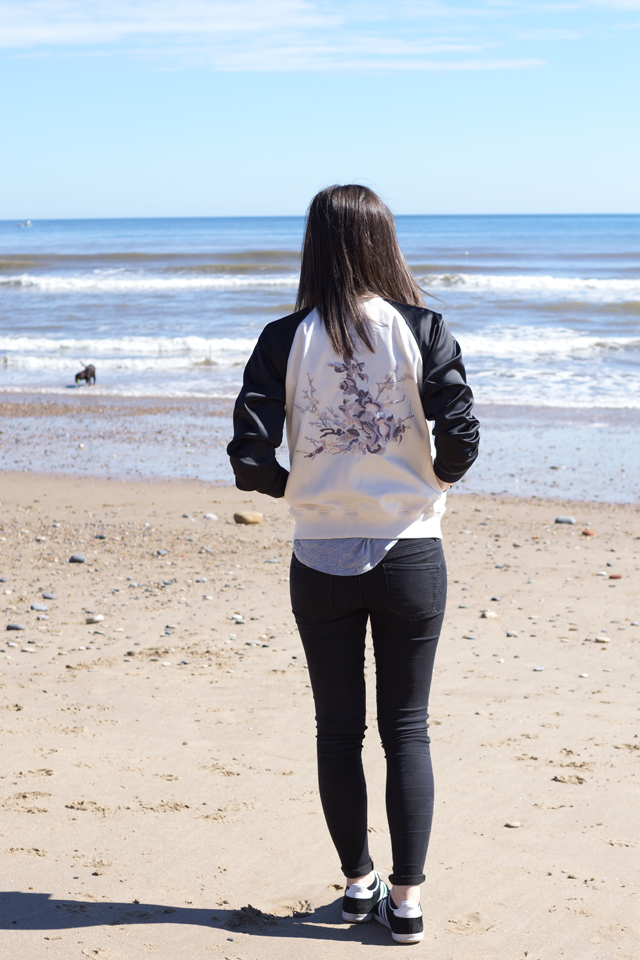 Hello Freckles Embroidered Bomber Jacket Fashion Personal Style Blogger