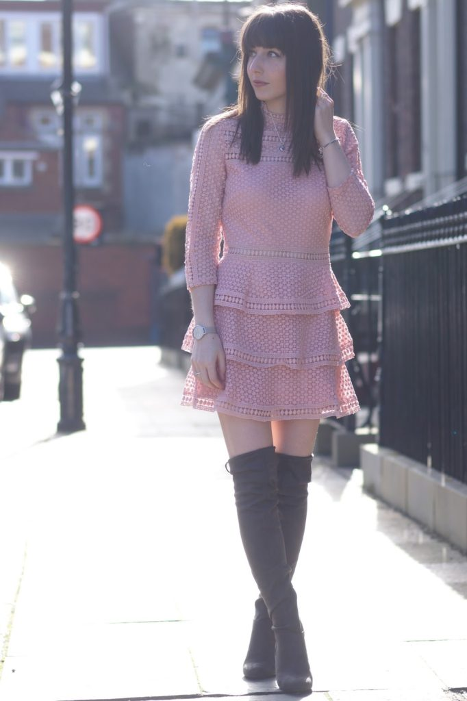 Hello Freckles Blush Pink PrettyLittleThing Lace Dress Over The Knee Boots Personal Styling Spring Outfit