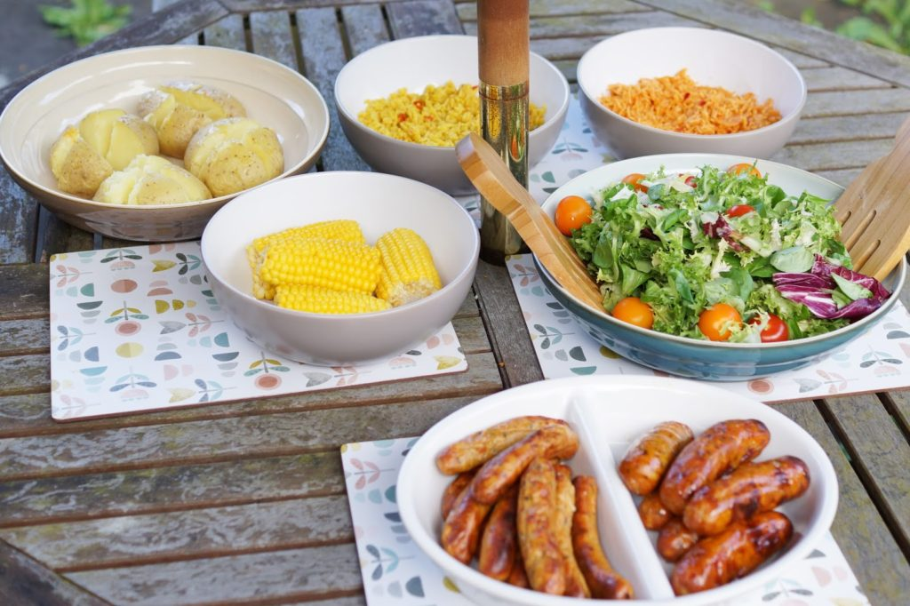 Hello Freckles Summer Dining Home Eating MOR Sausages Review Healthy Meals
