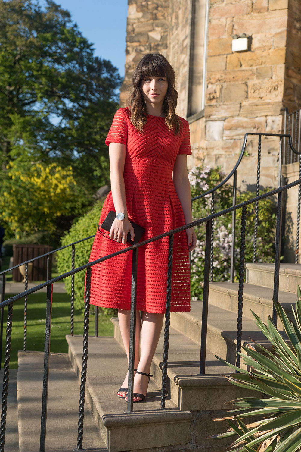 Hello Freckles Summer Occasion Wear Boohoo Red Dress Lumley Castle Personal Style