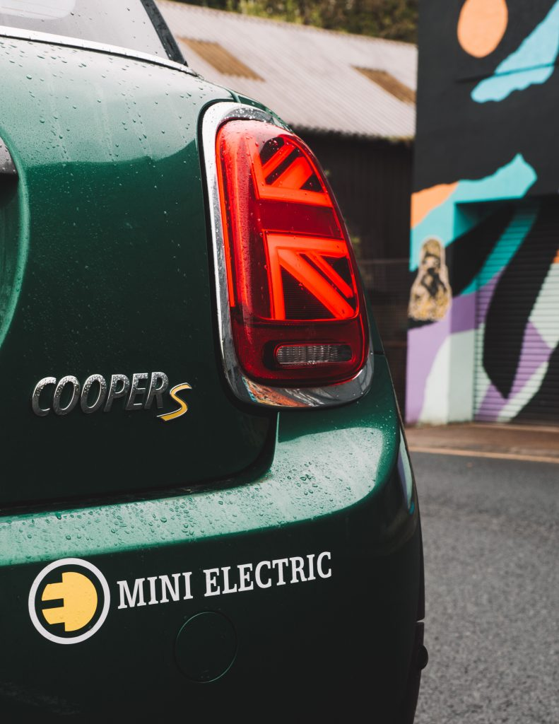 MINI Electric British Racing Green Headlight Union Jack Ouseburn Newcastle